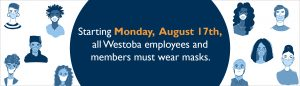 A white background with distanced people wearing masks, and a circle on top with text that reads: Starting August 17th, all Westoba employees and members must wear masks.