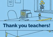 """Text: """"Thank You Teachers"""" in front of a blue background with a desk and books"""